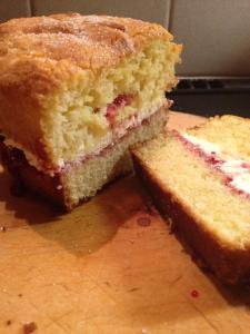 Gluten-free pound cake with rasberry jam and fresh cream