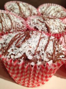 Sam's gluten free coconut cupcakes with milk chocolate
