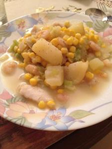 Prawn, haddock and sweetcorn chowder