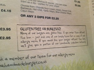 Handmade burger company allow gluten free customers to swap their bun for a salad