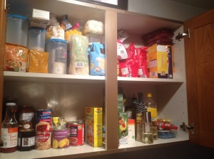 How much food do you have in your cupboards? As you can see I have a lot. I hope I learn a lot over the next 10 days at what I need and don't.