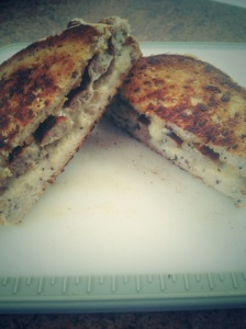 Some left over gluten free bread made a yummy and comforting cheese and bratwurst toastie.