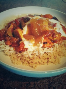 Gluten free turkey and aubergine curry with brown pileu rice.
