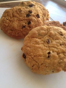 Gluten free oat and raisin cookies made with condensed milk