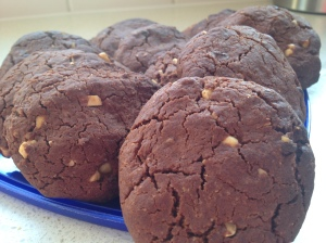 Homemade gluten free chocolate and caramel biscuits.