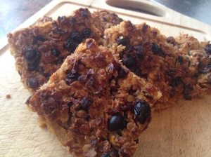 Gluten and dairy free fruit flapjack makes a great on the go breakfast bar