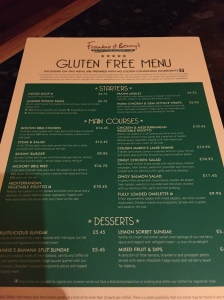 Frankie and Benny's now have their own gluten free menu to make eating there easier.