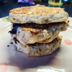 Gluten free oat, chocolate chip pancakes